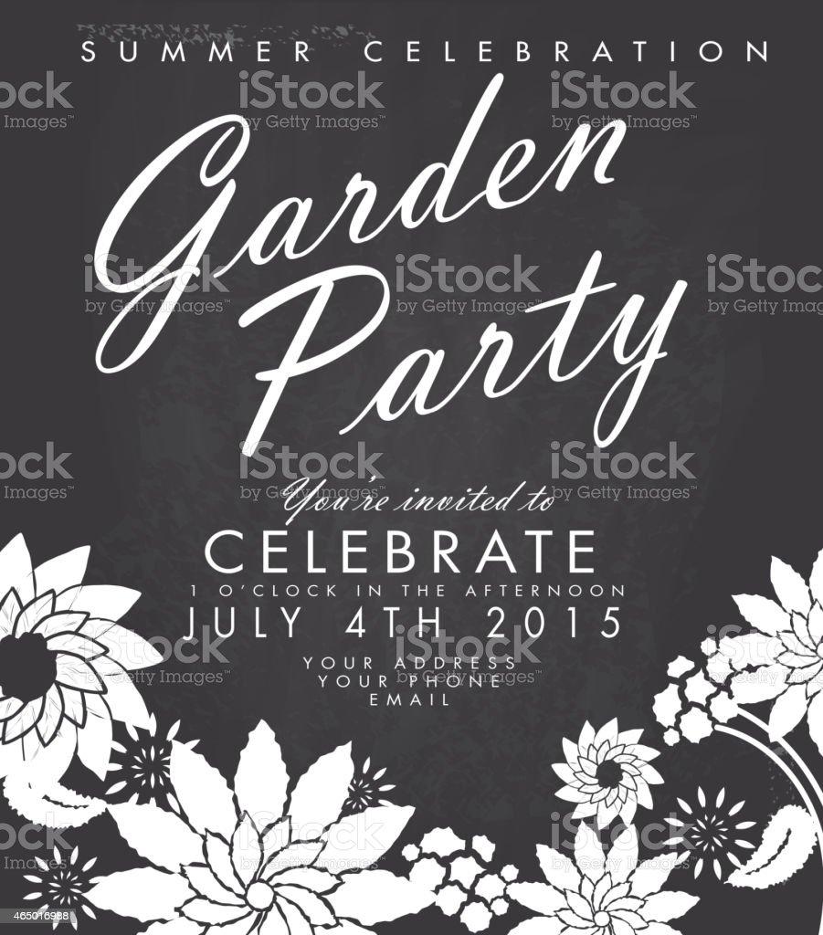 Chalkboard Garden Party Invitation Design Template stock vector ...