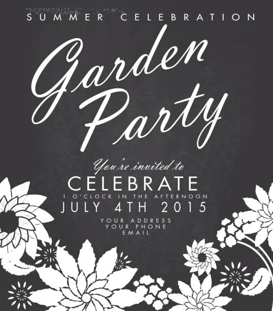 Chalkboard Garden Party invitation design template vector art illustration