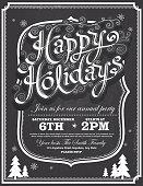 Chalkboard Happy Holidays greeting design