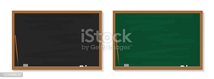 istock Chalkboard in school. Blackboard with chalk in classroom. Wood black, green boards in class for education. Background, banner for teacher, university, restaurant. Texture, frame for learning. Vector 1225568287