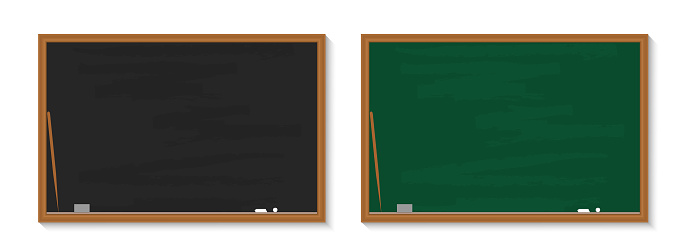 Chalkboard in school. Blackboard with chalk in classroom. Wood black, green boards in class for education. Background, banner for teacher, university, restaurant. Texture, frame for learning. Vector