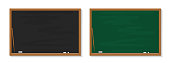 Chalkboard in school. Blackboard with chalk in classroom. Wood black, green boards in class for education. Background, banner for teacher, university, restaurant. Texture, frame for learning. Vector.