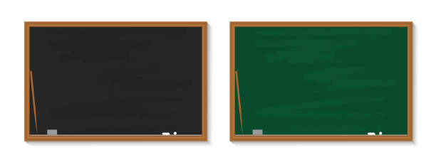 bildbanksillustrationer, clip art samt tecknat material och ikoner med svarta tavlan i skolan. svarta tavlan med krita i klassrummet. träsvart, gröna brädor i klassen för utbildning. bakgrund, banner för lärare, universitet, restaurang. textur, ram för lärande. vektor - svarta tavlan