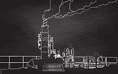 Chalk illustration of industrial smoke