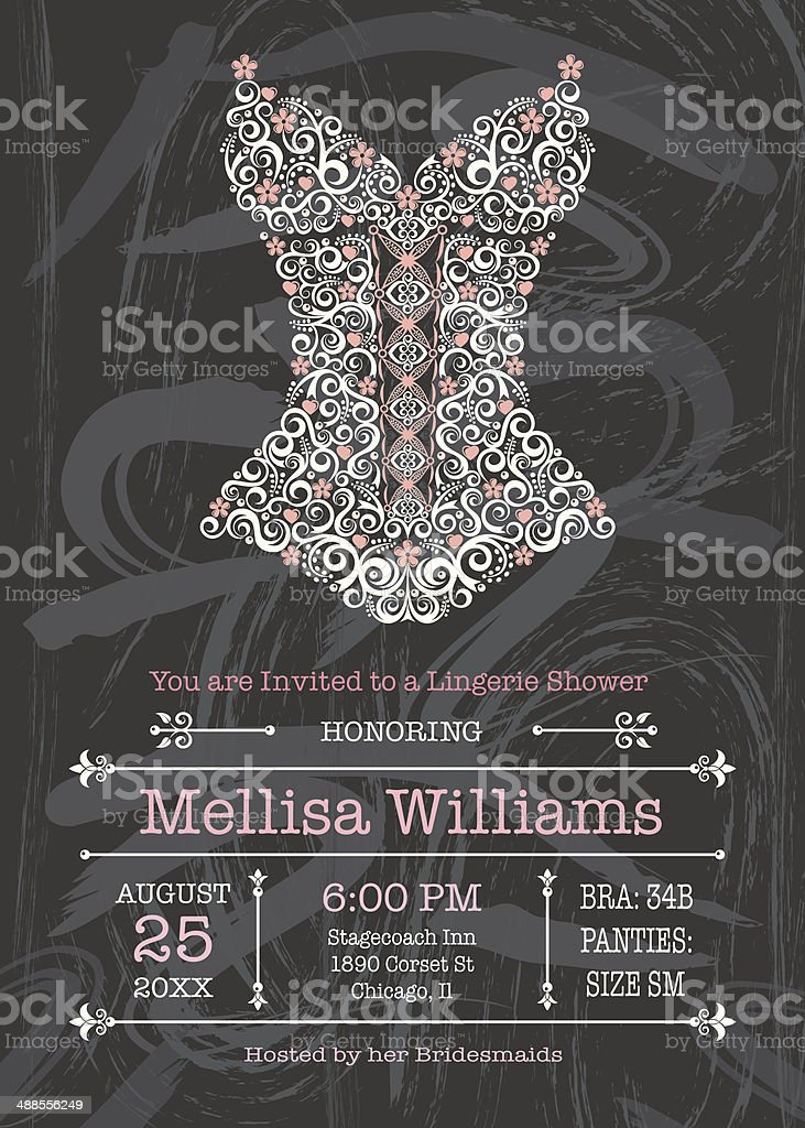 Chalkboard Lingerie Invitation - Illustration vectorielle