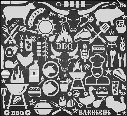 Chalkboard llustrations and icons with barbecue symbols.