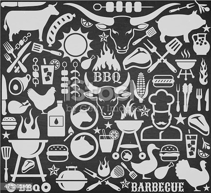 Chalkboard llustrations and icons with barbecue symbols.  The barbecue illustrations are done in white on black chalkboard background.  The acronym
