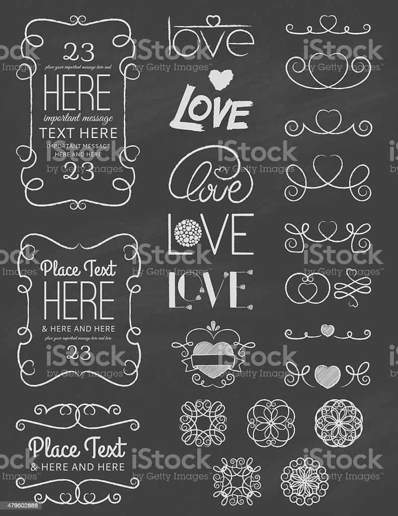 Chalkboard Love Design Elements Two vector art illustration