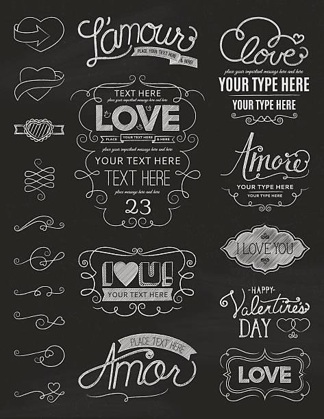 Chalkboard Love Design Elements vector art illustration