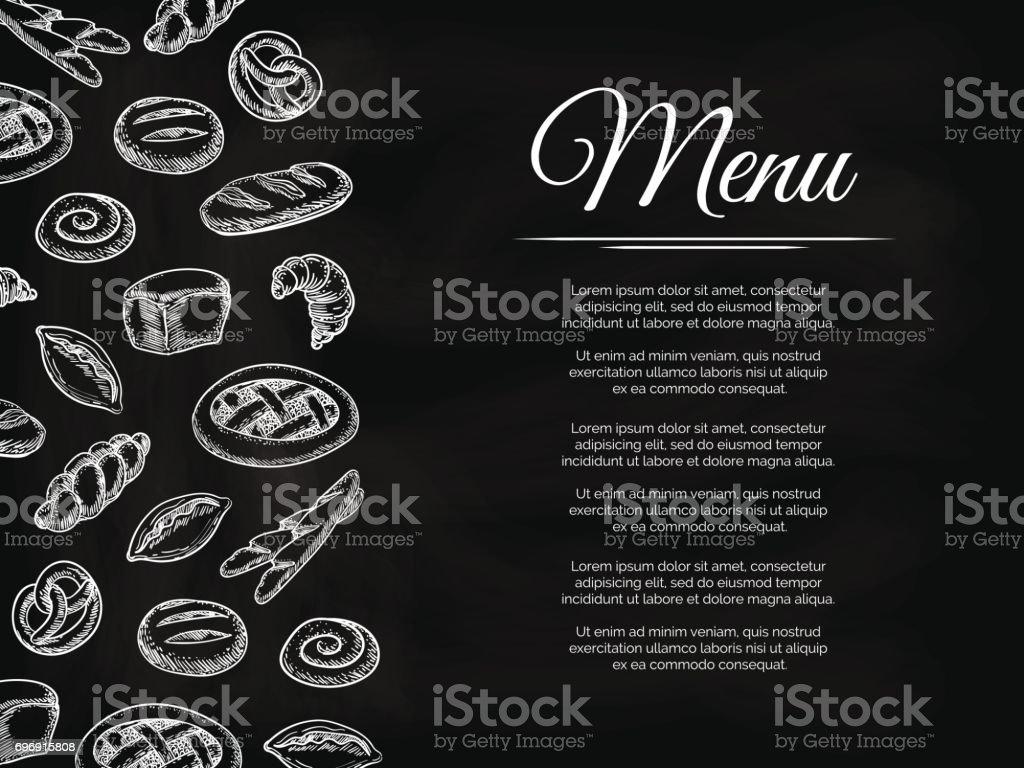 ベーカリー製品と黒板メニューの背景 ベクターアートイラスト