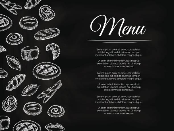 ベーカリー製品と黒板メニューの背景 - フランス料理点のイラスト素材/クリップアート素材/マンガ素材/アイコン素材