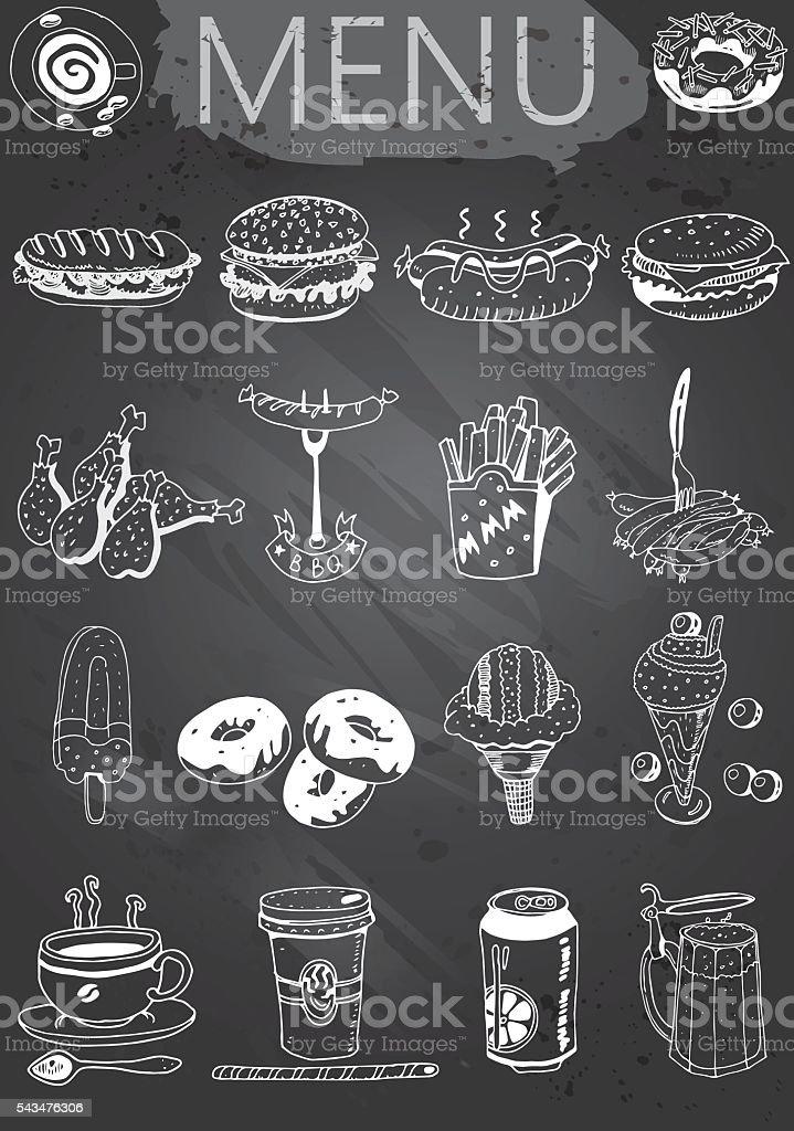 Chalkboard menu. Retro style fast food designs. vector art illustration