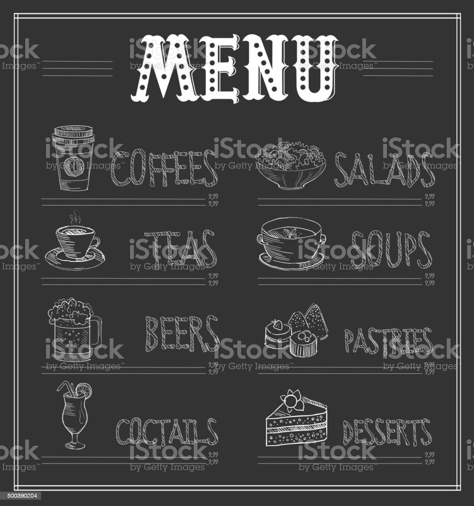chalkboard menu template of food and drinks vector illustration