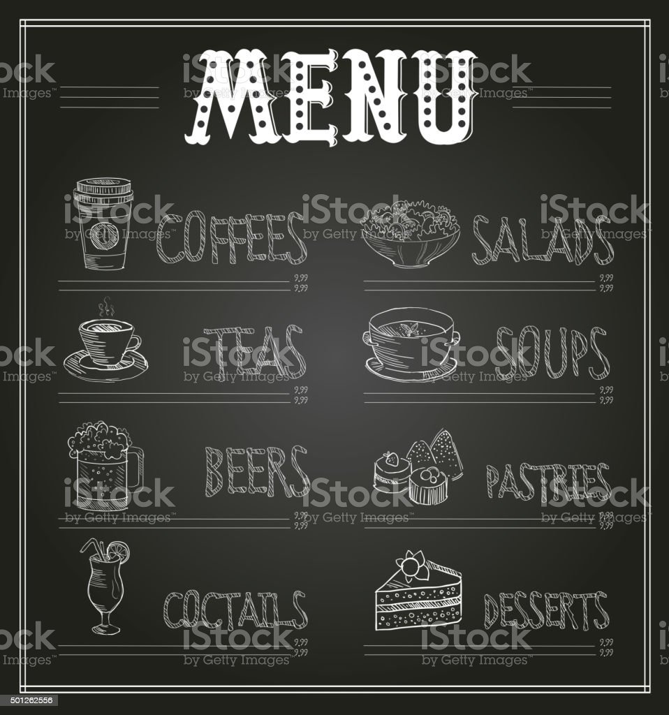Chalkboard menu template of food and drinks vector illustration chalkboard menu template of food and drinks vector illustration royalty free chalkboard menu template maxwellsz