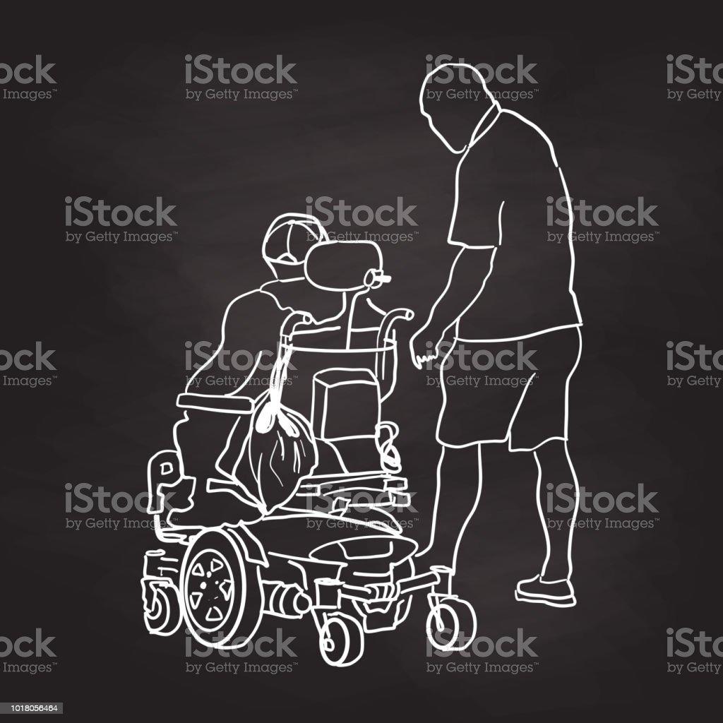 Antigua silla de hombre la energía pizarra - ilustración de arte vectorial