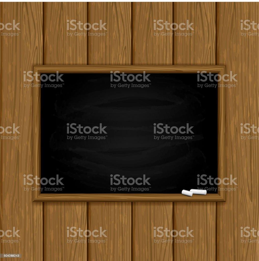 Chalkboard sur fond en bois - Illustration vectorielle