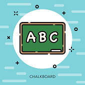 Chalkboard Open Outline School Supplies Icon