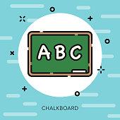 Chalkboard Open Outline School Supplies Icon