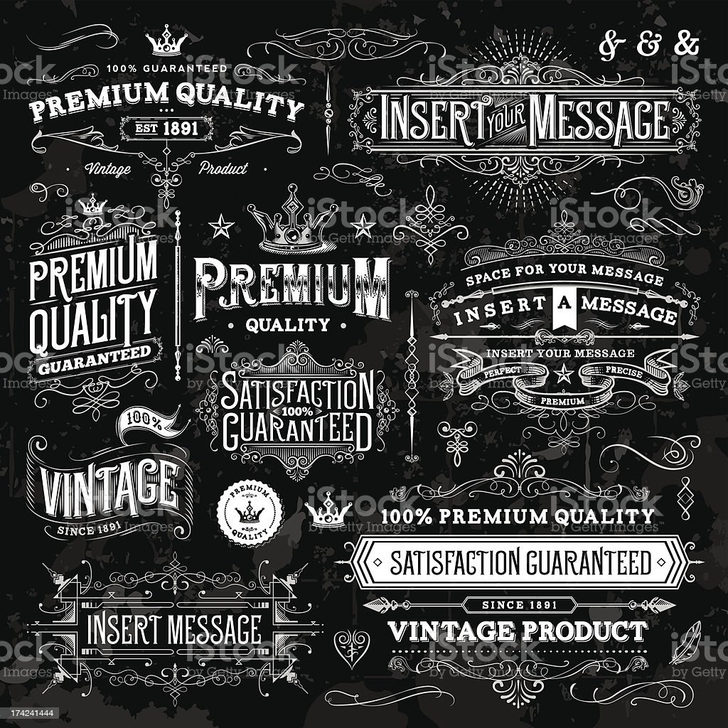 Chalkboard Ornate Vintage Elements vector art illustration