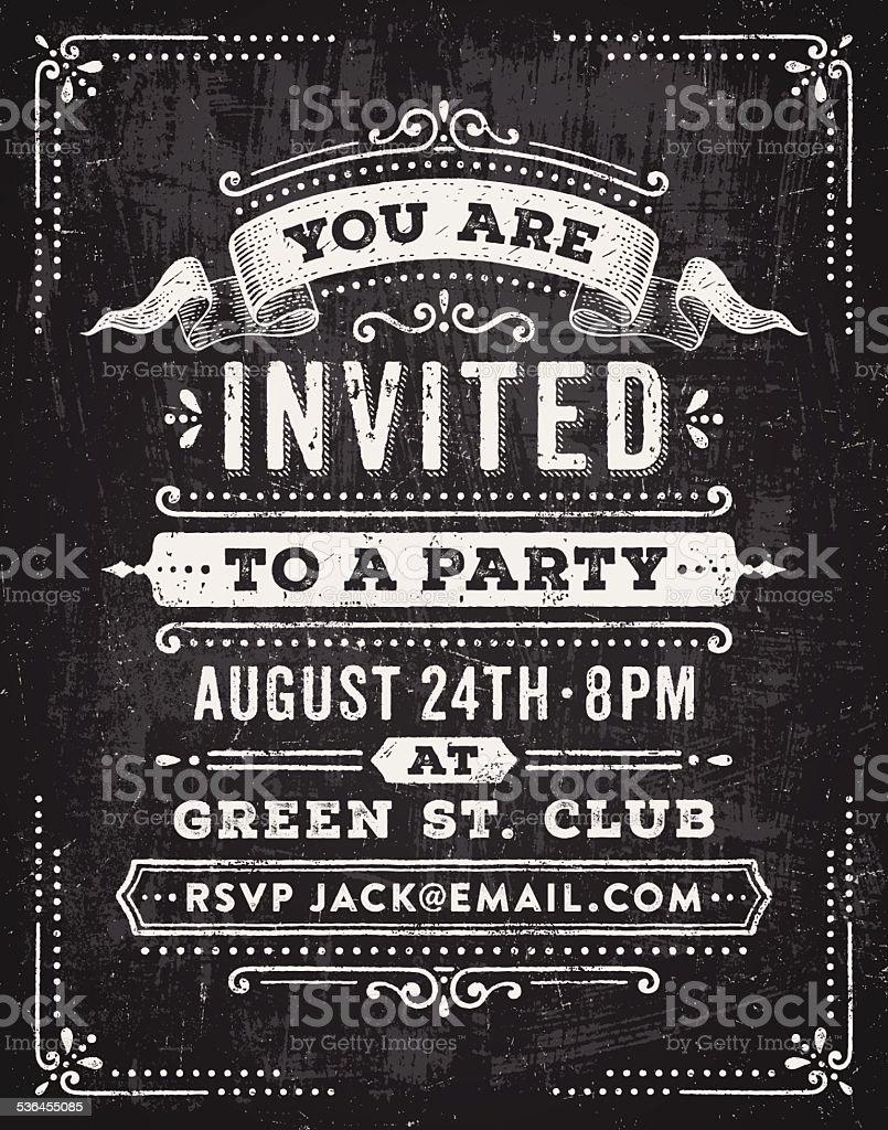 Chalkboard Party Invitation vector art illustration