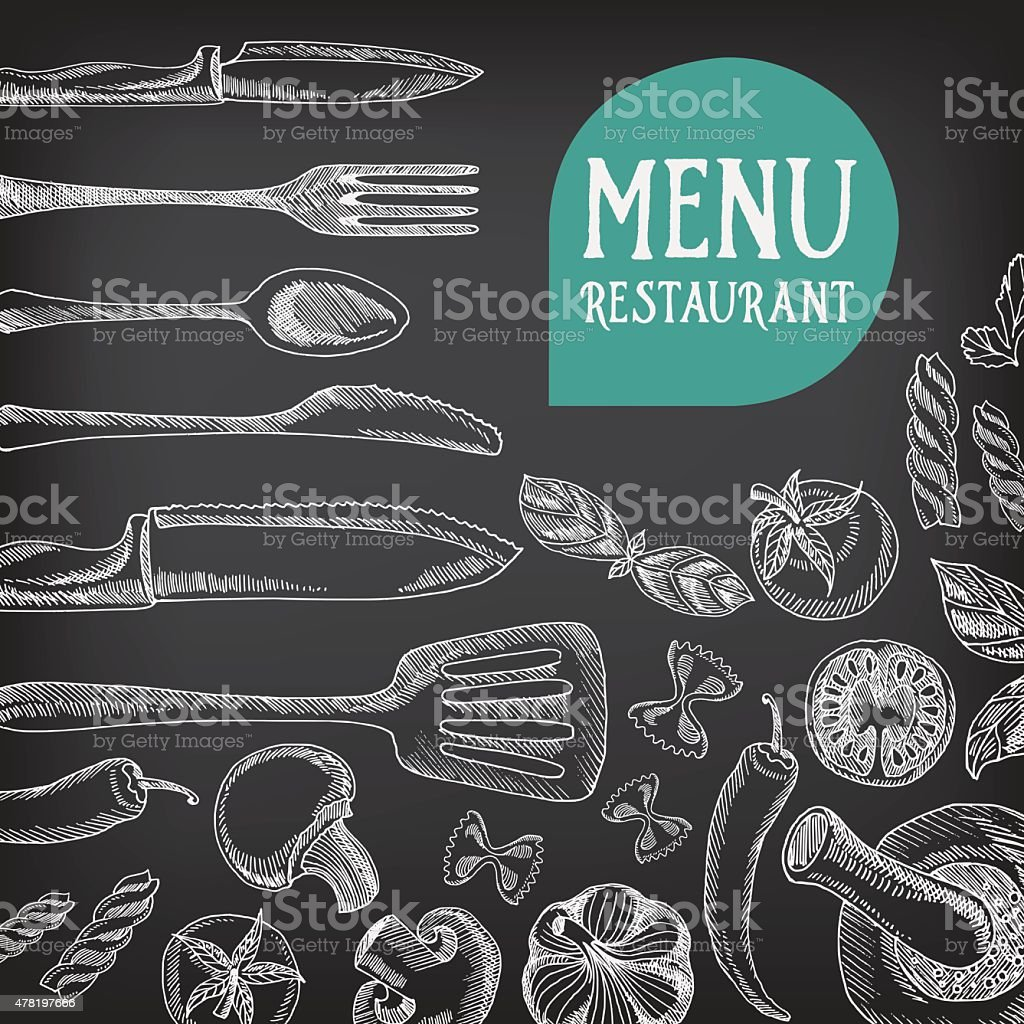 Chalkboard restaurant food menu. vector art illustration
