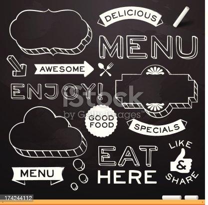 istock Chalkboard Restaurant Menu Elements 174244112