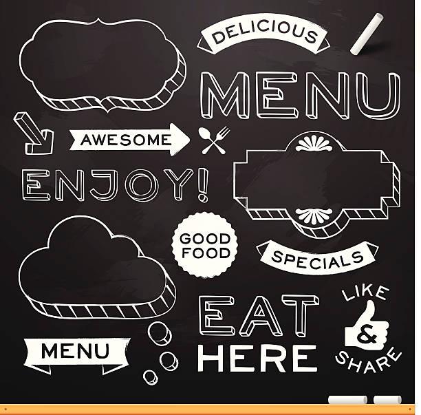 Chalkboard Restaurant Menu Elements Chalkboard restaurant menu design elements. EPS 10 file. Transparency effects used on highlight elements. cooking borders stock illustrations