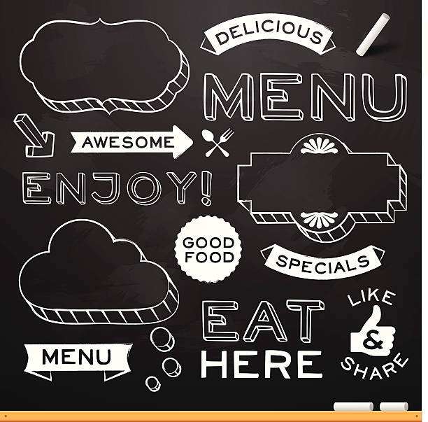 Chalkboard Restaurant Menu Elements Chalkboard restaurant menu design elements. EPS 10 file. Transparency effects used on highlight elements. cooking borders stock illustrations