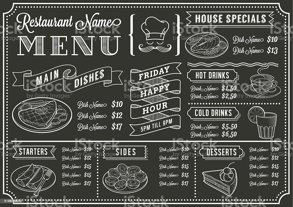 chalkboard restaurant menu template stock vector art more images