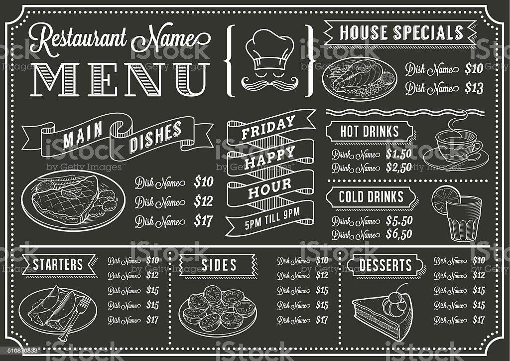 Chalkboard Restaurant Menu Template vector art illustration