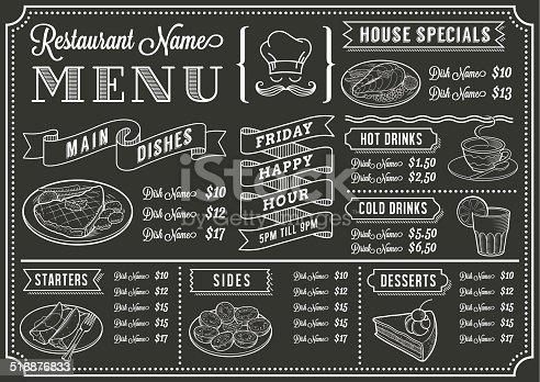 Tafel Restaurantmenüvorlage Stock Vektor Art und mehr Bilder von ...