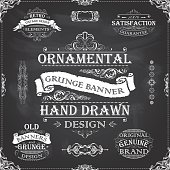 Collection of hand drawn banners and frames with different design and sizes, decorated with swirl floral ornaments and ribbons on a black chalkboard. File contain EPS8 and large JPEG.