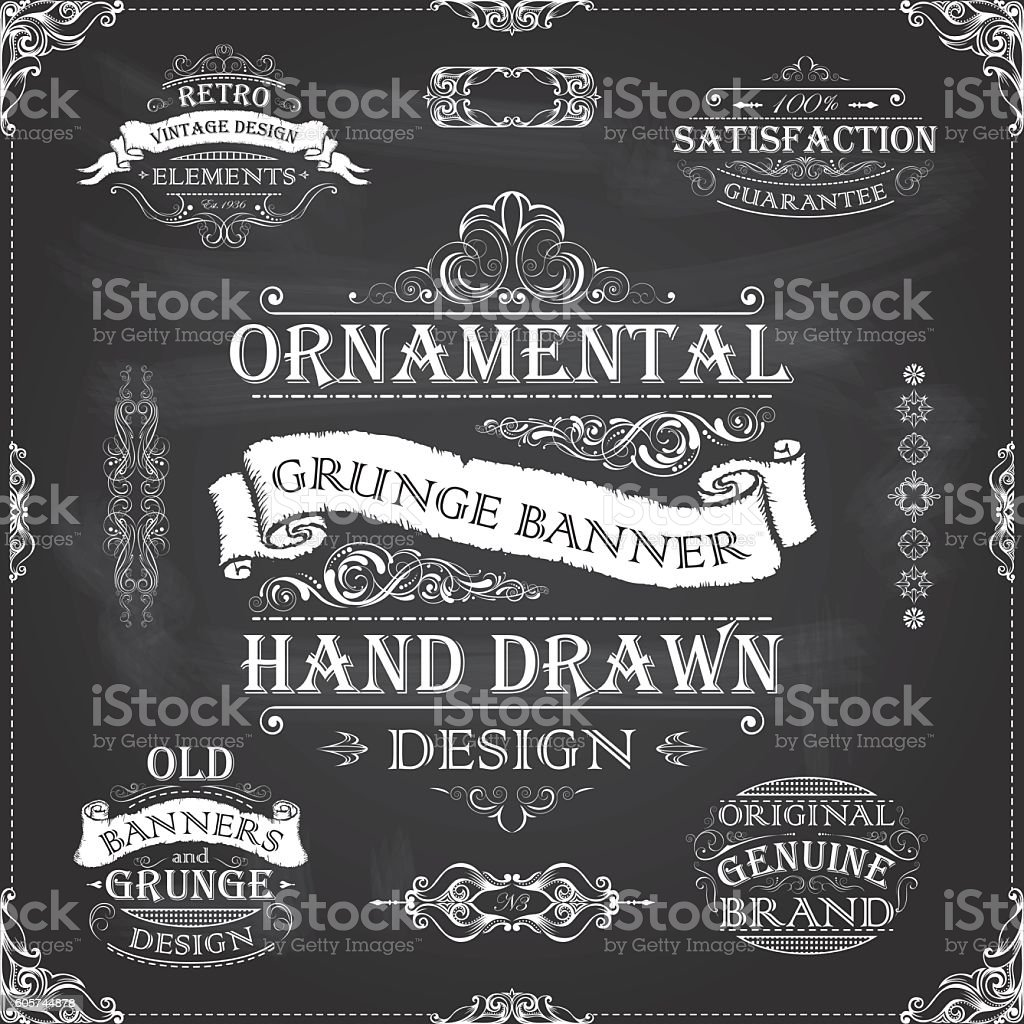 Chalkboard retro banners frames vector art illustration