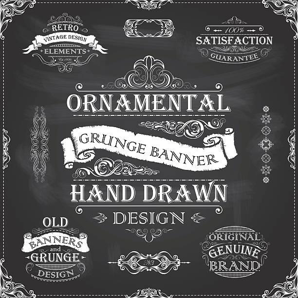 Chalkboard retro banners frames – Vektorgrafik