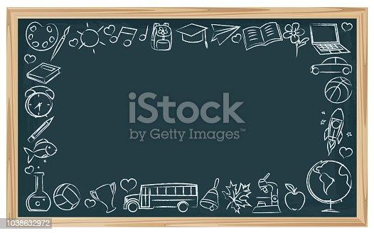 Vector Chalkboard School Symbols