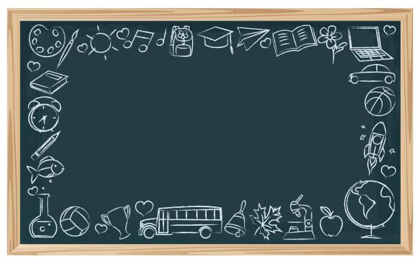 chalkboard school symbols - book borders stock illustrations