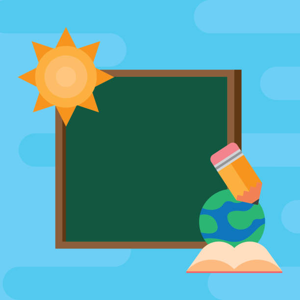 ilustrações de stock, clip art, desenhos animados e ícones de chalkboard school with supplies scene - teacher school solo