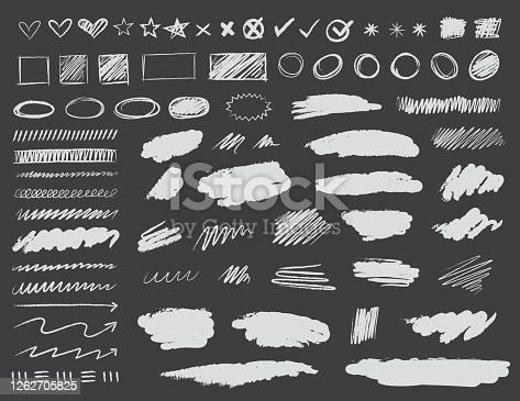 A Collection of scribble design elements in chalkboard style.