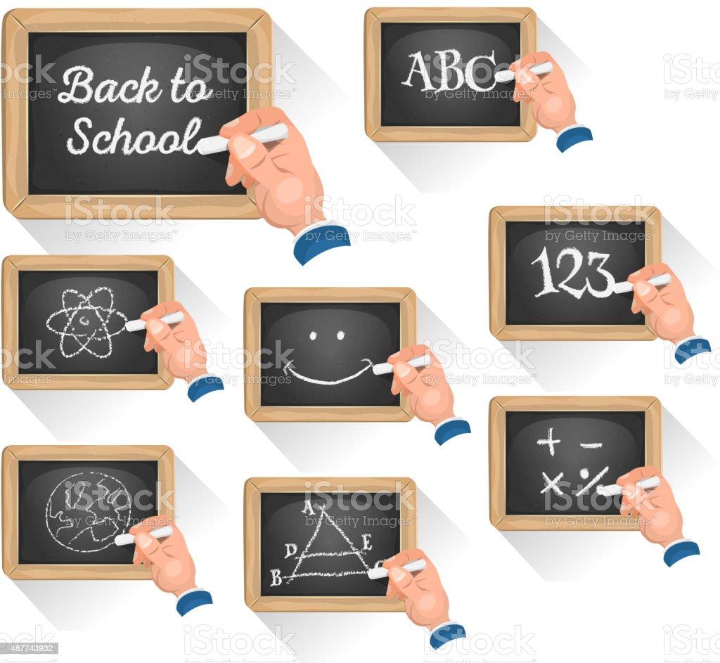 Chalkboard les panneaux pour l'école Reentry - Illustration vectorielle