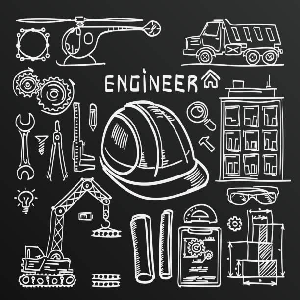 Chalkboard sketch Icons Engineer drawing. vector art illustration