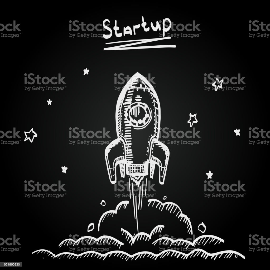 Chalkboard sketch rocket startup, Creative idea, Vector illustration vector art illustration