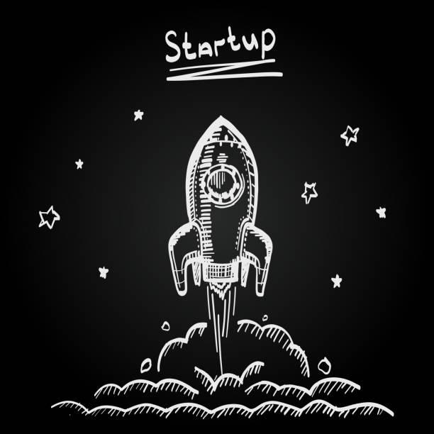 Chalkboard sketch rocket startup, Creative idea, Vector illustration vector art illustration