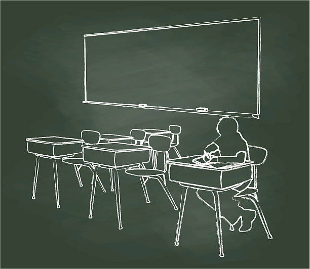 chalkboard student alone in classroom - 作文の授業点のイラスト素材/クリップアート素材/マンガ素材/アイコン素材