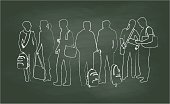A chalk outline vector silhouette illustration of a group of young adult students standing together in a row on a green background with white chalk.