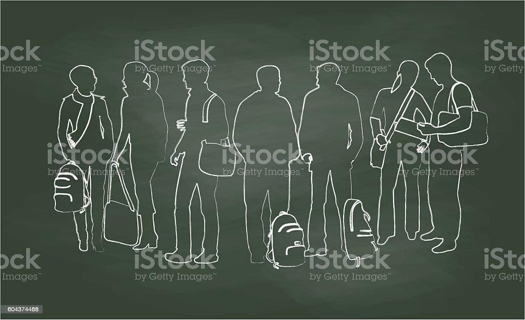 Chalkboard Student Chats Vector Illustration vector art illustration