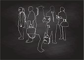 A chalk outline vector silhouette illustration of agroup of young adults with a graduate in the center holding a diploma.