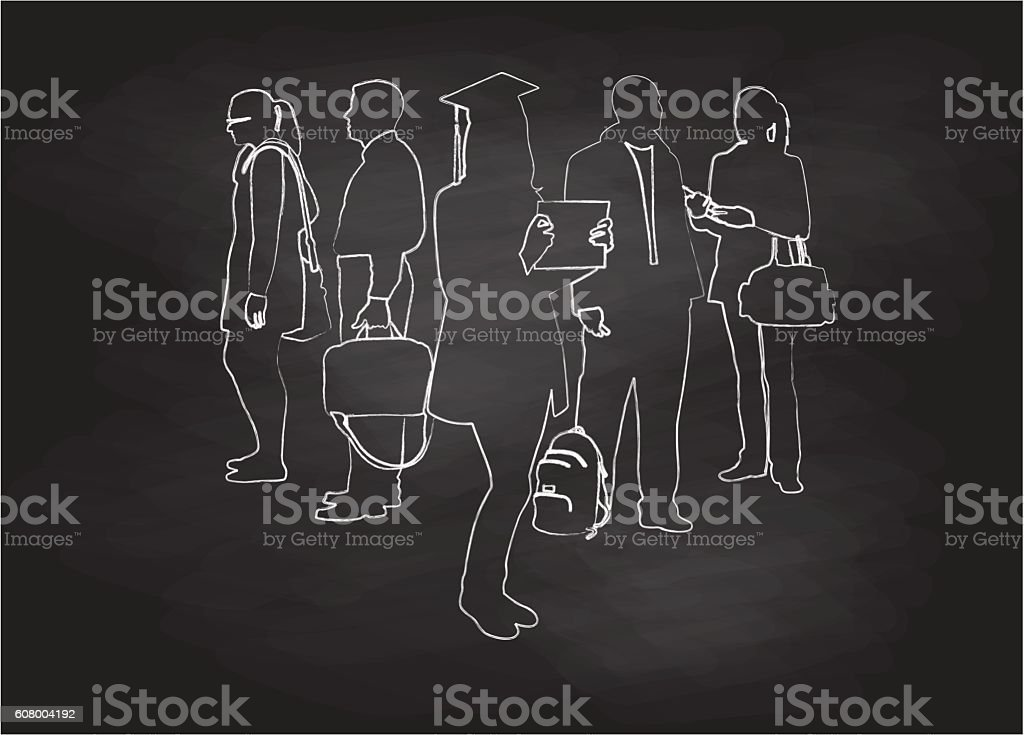 Chalkboard Student Graduation Group vector art illustration