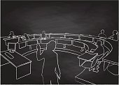 A chalk outline vector silhouette illustration of a professor giving a lecture to a sparse classroom with a few students.