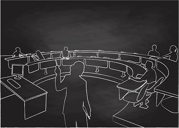 illustrations, cliparts, dessins animés et icônes de chalkboard student lecture hall - professeur d'université