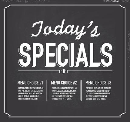 Chalkboard style text template Today's Special design